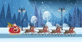 Santa Riding In Sledge With Reindeers, Merry Christmas And Happy New Year Greeting Card Winter Holidays Concept Banner Stock Photography