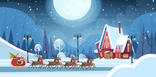 Santa Riding In Sledge With Reindeers, Merry Christmas And Happy New Year Greeting Card Winter Holidays Concept Banner Stock Images