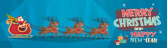 Santa Riding In Sledge With Reindeers, Merry Christmas And Happy New Year Greeting Card Winter Holidays Concept Banner Royalty Free Stock Photos