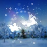 Santa Riding Sleigh Christmas Background Immagine Stock Libera da Diritti
