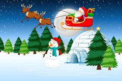 A santa riding sleigh. Illustration vector illustration