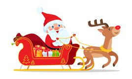 Santa Riding in Sleigh with Reindeer Animal Vector. Isolated on white. Christmas greeting postcard with deer driving cartoon sledge full of presents Royalty Free Stock Photos