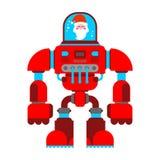 Santa robot Exoskeleton grandfather. Claus Cyborg warrior future vector illustration