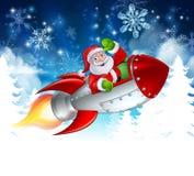 Santa in Rocket Christmas Cartoon Vector Illustration