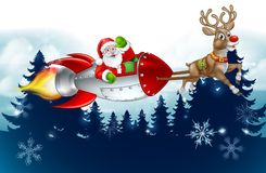 Santa Rocket Sleigh Christmas Background Illustration Stock