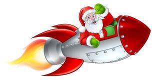 Santa Rocket Sleigh Christmas Cartoon vektor illustrationer