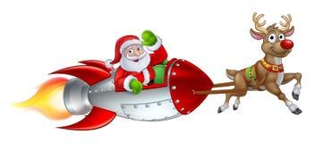 Santa Rocket Sleigh Christmas Cartoon. Santa Claus Christmas cartoon character riding in rocket ship sleigh pulled by a reindeer stock illustration