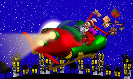 Santa Rocket Sleigh Stock Photo