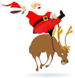 Santa rodeo. Santa claus rides on deer color  illustration Royalty Free Stock Photography