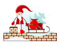 Santa on roof. Santa with sleigh on roof Royalty Free Stock Photo