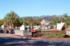 Arby`s Restaurant burned to the ground during recent fires in Northern California. Santa Rosa, CA - October 22, 2017: Arby`s restaurant in the Kohl`s parking lot royalty free stock images