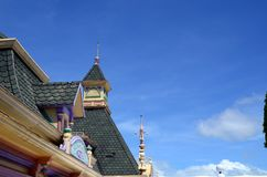 Roof top Facade of Enchanted Kingdom Theme Park where local and foreign tourists flock. Santa Rosa City, Laguna, Philippines - October 28, 2016: Roof top Facade Stock Photo