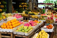 Tropical Fruit Market Stand in public market. Santa Rosa City, Laguna, Philippines - October 28, 2016: Tropical Fruit Market Stand in public market Stock Photos
