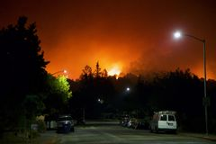 Santa Rosa - Larkfield-Wikiup, Airport Blvd fire. Evacuation. Santa Rosa - Larkfield-Wikiup, Airport Blvd fire night from Sunday to Monday. Evacuation Stock Image