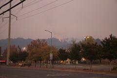 Santa Rosa - Larkfield-Wikiup, Airport Blvd fire. Evacuation. Royalty Free Stock Photos