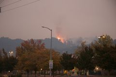 Santa Rosa - Larkfield-Wikiup, Airport Blvd fire. Evacuation. Stock Images