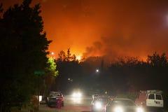 Santa Rosa - Larkfield-Wikiup, le feu de Bd. d'aéroport évacuation Photographie stock libre de droits
