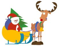 Santa and rudolf. Vector illustration stock illustration