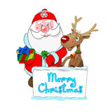 Santa and Rudolf congratulate Marry Christmas. Illustration Santa and Rudolf congratulate Marry Christmas Royalty Free Stock Photography