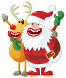 Santa and Rudolph. Funny Christmas illustration. Santa and Rudolph singing. Vector without gradients, great for printing Royalty Free Stock Images