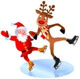 Santa and Rudolph stock image