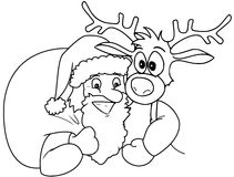 Santa and Rudolph Royalty Free Stock Photos