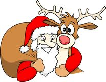 Santa and Rudolph Stock Photos