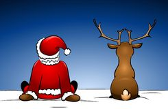 Santa and Rudolph Royalty Free Stock Image