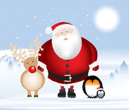 Santa Rudolph And Penguins Stock Image