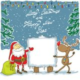 Santa and Rudolph with banner - Illustration. Hand drawing Christmas illustration of Santa and Reindeer Rudolph with sign panel Royalty Free Stock Photos