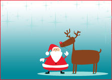 Santa and rudolph christmas background Royalty Free Stock Images