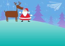 Santa and rudolph christmas background Stock Photo