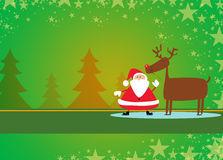 Santa and rudolph christmas background Stock Photos