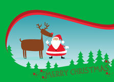 Santa and rudolph christmas background Royalty Free Stock Image