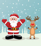 Santa and rudolph deer Stock Photos