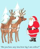 Santa and Rudolph. Do you have any idea how big I am online Royalty Free Stock Images