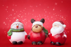 Santa, Rudolph e pupazzo di neve Fotografia Stock Libera da Diritti