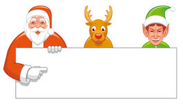 Santa,Rudolph and elf with bla. Isolated illustration of Santa,Rudolph and elf with bla Royalty Free Stock Image