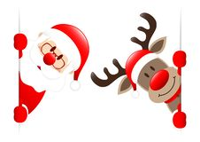 Santa And Rudolph Inside Vertical Banner stock illustration
