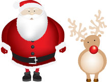 Santa and rudolph isolated Royalty Free Stock Images