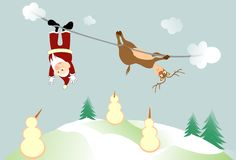 Santa and rudolph landing Stock Images