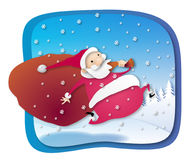 Santa on the run. Santa Claus runnig with a big bag Royalty Free Illustration