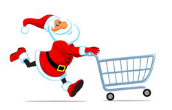 Santa run with shopping cart Royalty Free Stock Photo