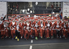 Santa run is a tradicional race Stock Photo