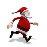 Santa running. 3d rendering/illustration of a cartoon santa running from left to right Royalty Free Stock Photos