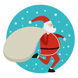 Santa running Royalty Free Stock Photography