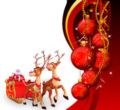 Santa is running with sleigh on red background Stock Images