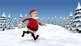 Santa running through snow covered landscape. 3d rendering/illustration of a cartoon santa running through a stylized snow covered landscape Royalty Free Stock Photography