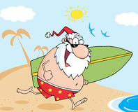 Santa running with a surfboard Royalty Free Stock Images