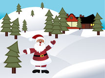 Santa in rural area Royalty Free Stock Photo